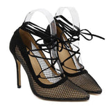 Gorgeous Lace Up Mesh Stilettos GSS1140