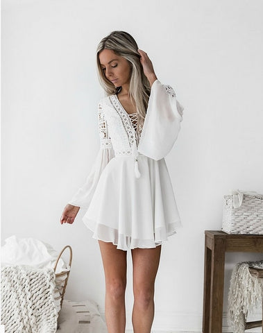 Bohemian mini dress women fashion spring solid white mini lace casual clothes v-neck long sleeve dresses