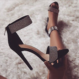 Boussac Luxury Crystal Heel Sandals Brand Design Sexy Bling Rhinestone High Heel Women Sandals Elegant Party Shoes Women SWC0234