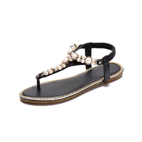 Ladies Pearl Beaded Chain & Rhinestone Sandals
