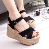 Women's Velvet Flock Fashion high Heel Platform Open Toe Sandals