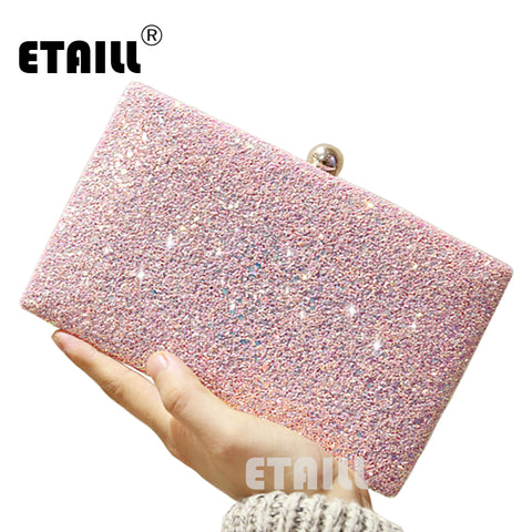 Glitter Sparkling Full Sequins Evening Wedding Bride Shoulder Party Clutch Purse Chain Bag