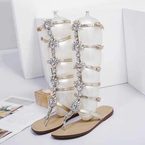 Ladies Gladiator Gold Rhinestone Knee High Bohemia Style Crystal Sandals GSS1059