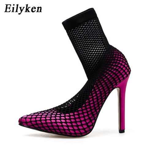 Eilyken 2019 Fashion Flock Women Pumps Mesh Stretch Fabric Sock Boots Thin Heels Pointed Toe Ankle Woman Party Black Pumps 11CM