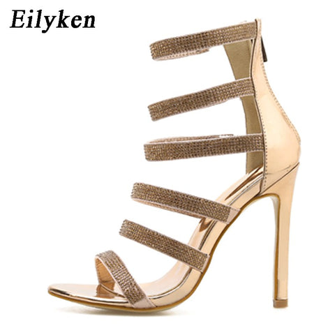 Women Crystal Open Toed High Heel Sexy Zipper Sandals