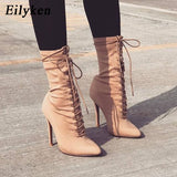 Eilyken Autumn Winter Stretch Fabric Lace-Up Boots Pointed Toe High Heel Boots Sexy Ankle Boots For Woman Socks Women Boots