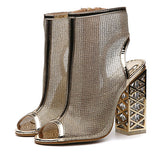 Sexy Golden Bling Gladiator Sandals Peep Toe Zip Shoes Clear Chunky Transparent heels Pumps Sandals Women Boots