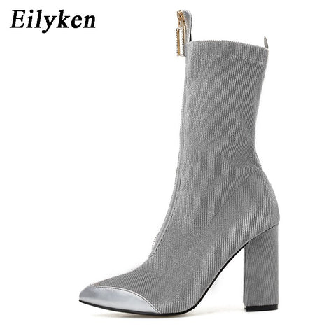 Eilyken Plus 35-40 Corduroy Boots Women Zipper Ankle Booties High heels Shoes Pointed Toe Female Shoes Winter 2019 New