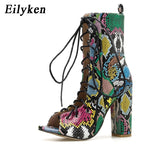 Eilyken Summer Mixed Color Snake Print Women Ankle Boots Sandals High Quality PU Leather Open Toe Hollow Cross Lace-Up Shoes