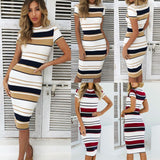 Elegant temperament women's summer striped tight dress short-sleeved women's knee-length dress solid color jersey stretch dress