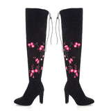 Embroidery Flower High Heel Long Over Knee Boots