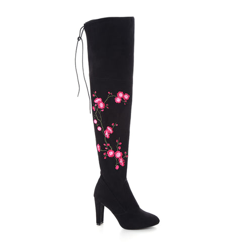 Embroidery Flower High Heel Long Over Knee Boots GSS1063