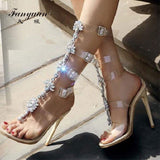 Fanyuan sexy High-heeled Sandals women Transparent Buckle strap Gladiator Sandals Summer Peep toe Diamonds Wedding bridal shoes