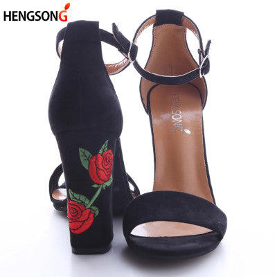 Suede Embroided High Heel Sandals GSS1155