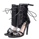 Women Gladiator Lace up peep toe sandals high heels