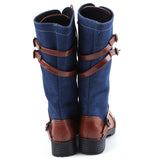 Ladies denim and brown knee high winter boots
