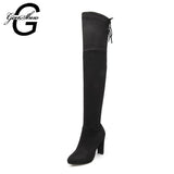 GENSHUO Faux Suede Over The Knee High Boots