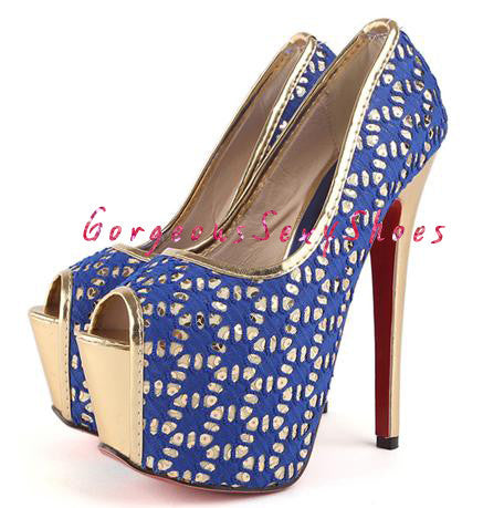 Cochran-Croquet Lace Covered Gold Platforms GSS1013