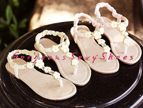 Willow-Flower Embellished Toepost Sandals GSS1020