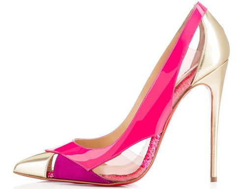 Gibside-Colour Block Gold Heel Stiletto GSS1034