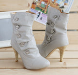 Ruched Effect & Button Stiletto Boots GSS1111