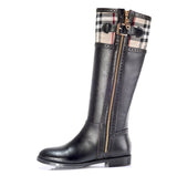 Tartan Trim Riding Style Knee High Boots GSS1107