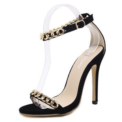 Gorgeous Gold Chain Stiletto Sandals GSS1141