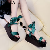 HTUUA 2018 New Fashion Silk Lace-Up Bow Sandals Women Summer Platform Shoes Ankle Strap Wedges Gladiator Sandals SX1174