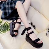 Silk Lace-Up Bow Platform Ankle Strap Wedges Gladiator Sandals GSS1065