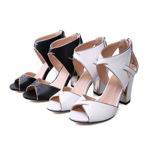 GSS1045 Peep Toe Square Heel Sandals