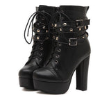 Lace Up Block Heel High Ankle Boots GSS1086