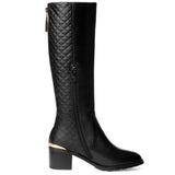 Gorgeous Quilted Effect Zipped Knee High Boots GSS1102