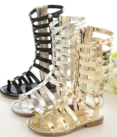 Girls Gladiator Style Calf High Sandals GSSC101