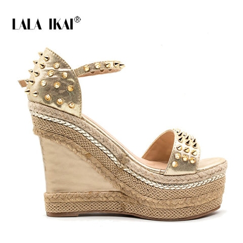 High-heeled Woven Platform Rivet Sandals Fashion Summer Shoes
