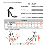 LALA IKAI Women Ankle Strap Sandals Transparent Band Square Heels Metal Decoration Ladies Summer Party Wedding Shoes 014C1876-5