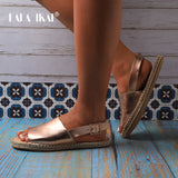 Women PU Leather Sandals Buckle Back Strap Hemp Ladies Flats Outdoor Casual Shoes