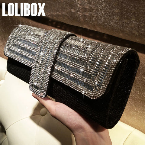 ae4d662521 ... LOLIBOX Women Clutch Evening Bags rhinestone Sparkly Ladies Party  Clutch Purse Crystals Long Chain Wedding Bridal ...