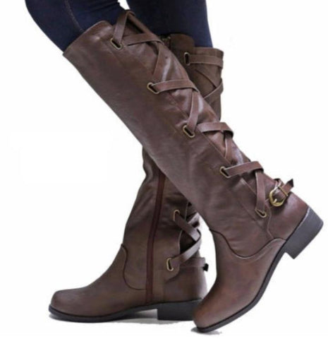 Cross Over Detail Riding Style Knee Boots