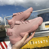 Luxury Women's Shoes Casual Fashion Sneaker Flat Platform Flyknit Stretch Fabric Ladies Shoes 2018 New Mesh Lace-up High Quality
