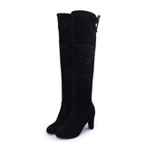 Ladies Over The Knee Faux Suede Boots