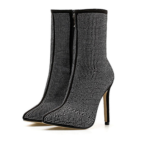MONMOIRA Luxury Rhinestone High Heel Sock Boots Women Sexy Pointed Toe Crystal Ankle Boots Short Winter Women Shoes SWE0303