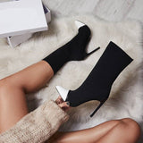 MONMOIRA Stretch Fabric Sock Boots Women Patchwork High Heel Women Boots Sexy Pointed Toe Women Boots Shoes SWE0302