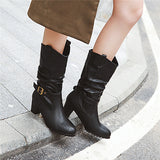 MORAZORA 2020 new arrival women mid calf boots round toe buckle high heels Western boots autumn winter dress office shoes woman