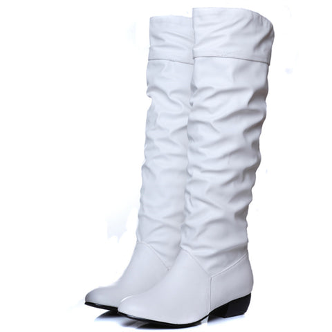 Ladies ruched effect knee high flat boots GSS1059