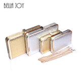 New Bling Women Evening Bag Gold and Silver Color Clutch Box Bags Women Handbag Shoulder Bag Cross-body Bags WB9056