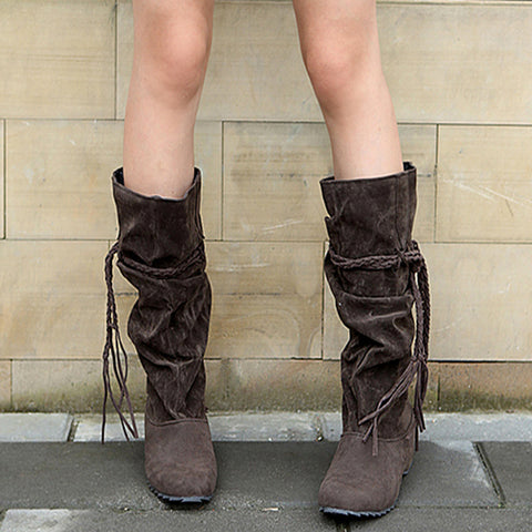 Crocodile Slouch Fringe Half Knee High Boots GSS1129