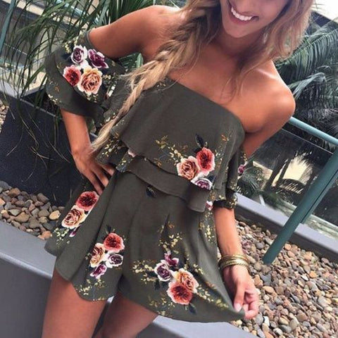 Women Sleeveless Ruffles Jumpsuit Off Shoulder Strapless Playsuit