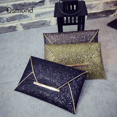 Osmond Women Evening Bag Pouch Sequins Envelope Clutch Black Handbag Sparkling Party Bag Solid Wedding Day Clutches Gold Purses