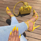POADISFOO Sexy Yellow Sandals Ladies Sandals Summer New Pointed Fish Mouth Cross Stilettos Sharp Point Toe 11.5cm heels ZL-222-5