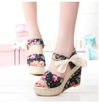Gorgeous Flower Bow Tie Lace Wedge Sandals GSS1138